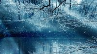 Vinterlandskapbakgrund och fallande stjärnor