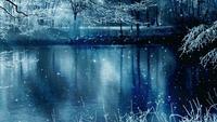 Fond de paysages d'hiver et étoiles filantes
