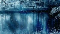 Winter Scenery Background And Falling Stars