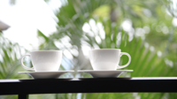 Coffee cup with outdoor view