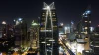 Bangkok stad på natten
