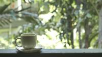 Taza de café con vista al aire libre