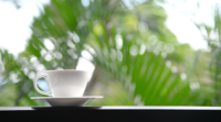 Kaffekopp med utomhusutsikt