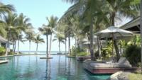 Piscina exterior con vista al mar y palmera.