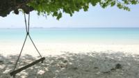 Balanço de madeira vazio ao redor do mar da praia