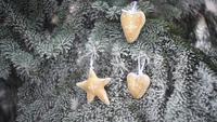 Julleksaker som hänger på grenarna av en julgran