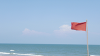 Flatternde rote Fahne am Strand