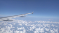 Airplane Wing With Cloudy Sky View