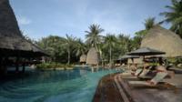 Piscina exterior con palmeras