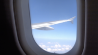 Flygvinge med fönstervy