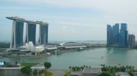 Skyline van de stad Singapore