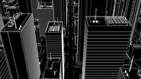 3D-animation Wire-frame of a City Aerial Flyover