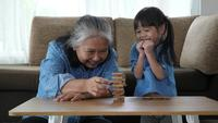 Grandmother And Granddaughter Play With Jenga Blocks