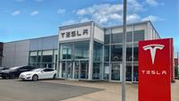 Tesla Dealership with Electric Cars