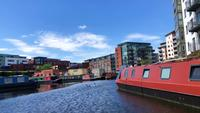 Narrowboats in the canals of Birmingham, United Kingdom