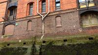 Gammalt lagerområde Speicherstadt i Hamburg