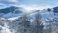 Panorama do inverno de Saalbach-Hinterglemm, Áustria
