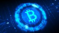Símbolo de Bitcoin con HUD futurista