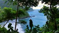 Vista costera del acantilado y el océano en Hawai 4K