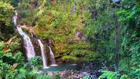 View Of Waterfall On The Road To Hana In Hawaii 4K