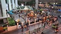The Erawan Shrine at Ratchaprasong Intersection in Bangkok, Thailand.
