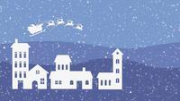 Fondo de navidad con santa claus y renos