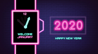 Countdown Digital Clock New Year 2019 change to New Year 2020