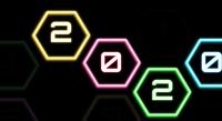 2019-2020 verandering Gelukkig Nieuwjaar 2020 op veelhoek neon sign effect