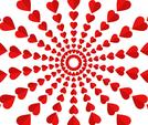 Vector illustration of red hearts pattern on white background