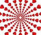 Ilustración de vector de patrón de corazones rojos sobre fondo blanco