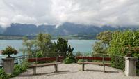 Het meerachtergrond van Thun in Zwitserland