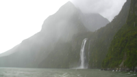 Milford Sounds mountain in the Rain with waterfall