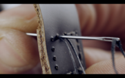 Macro 4k Of Leather Straps With Black Thread
