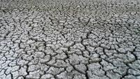 Dry lake bed with the natural texture of cracked clay in perspective floor