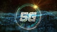 5G communication HUD with abstract gold network data transfering motion background