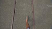 Fuß auf einem Kai