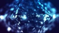 Digital Blue Glowing Particles in Diamond Shape