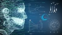 Futuristiek Mesh Human AI- en VR-gezichten
