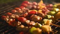 BBQ in spiesjes gegrild op houtskool