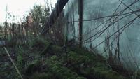 Achterwand van een verbrand huis