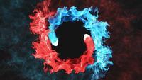 Blauer und roter Rauch