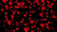 Fundo 3D de corações vermelhos