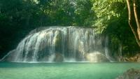 Erawan waterfall in the tropical rain forest