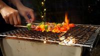 Barbacoa Fuego picante a la parrilla en llamas