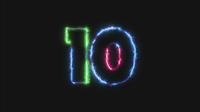 Contagem regressiva de números de néon