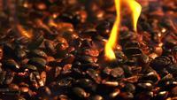 Brandende gebrande koffie Macro