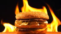 Delicious Hamburger on Fire