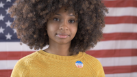 Eleitor de mulher afro-americana