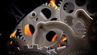 Abstrakte Retro-Uhr Zahnräder und Feuer