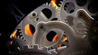 Abstract Retro Clock Gears and Fire